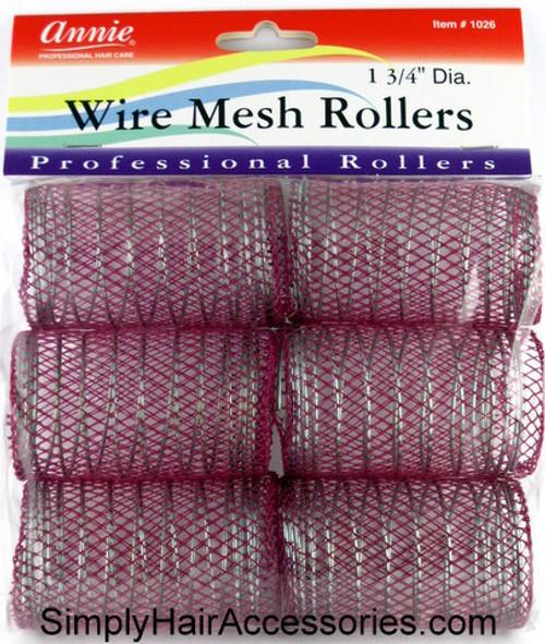 "Annie 1-3/4"" Jumbo Wire Mesh Hair Rollers - 6 Pcs."