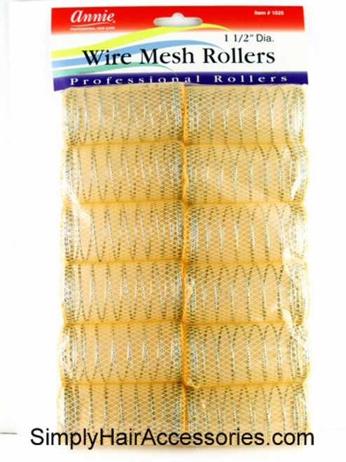 "Annie 1-1/2"" XL Wire Mesh Hair Rollers - 12 Pcs."