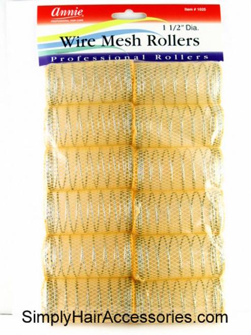 """Annie 1-1/2"""" XL Wire Mesh Hair Rollers - 12 Pcs."""
