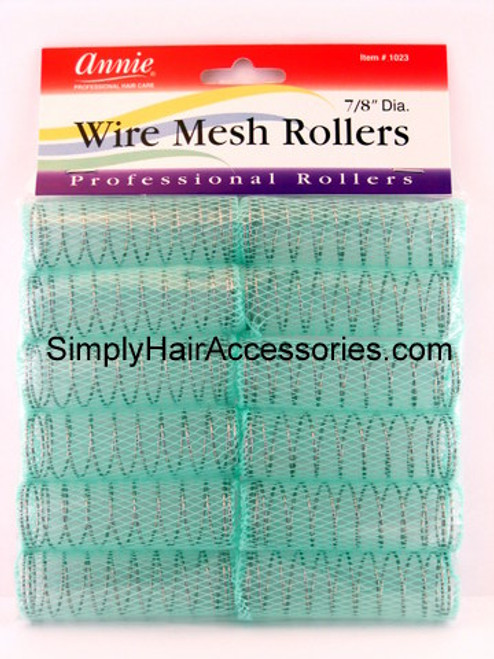 "Annie 7/8"" Wire Mesh Hair Rollers - 12 Pcs."