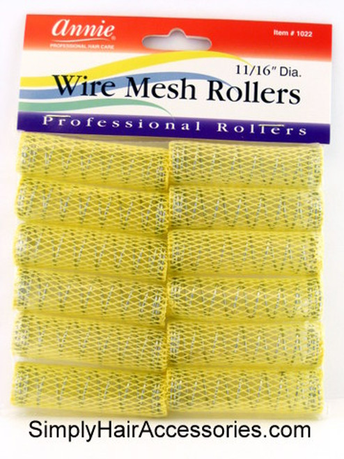 "Annie 11/16"" Wire Mesh Hair Rollers - 12 Pcs."