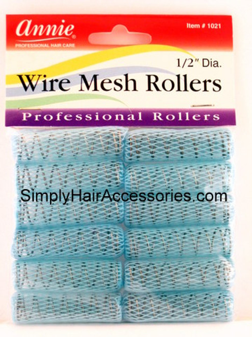 "Annie 1/2"" Wire Mesh Hair Rollers - 12 Pcs."