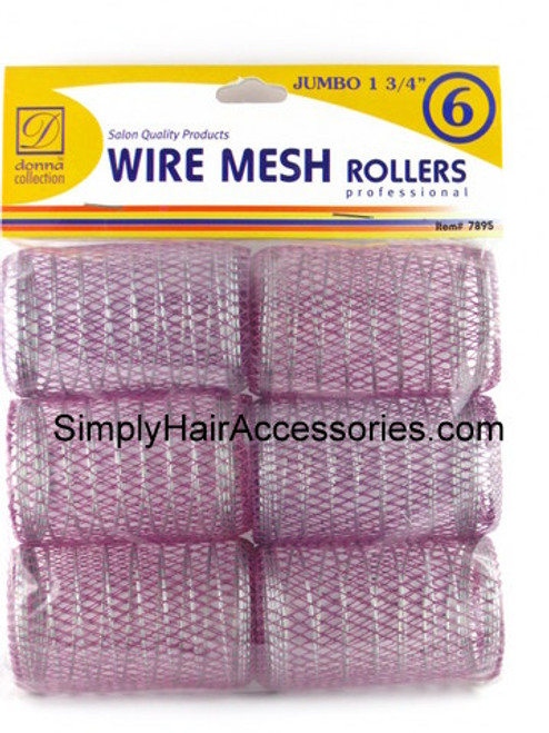 "Donna 1-3/4"" Jumbo Wire Mesh Hair Rollers - 6 Pcs."