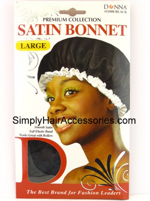 Donna Premium Collection Large Satin Bonnet - Black