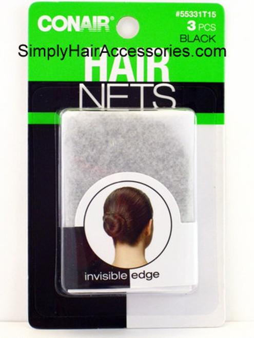 Conair Hair Nets - Black - 3 Pcs.