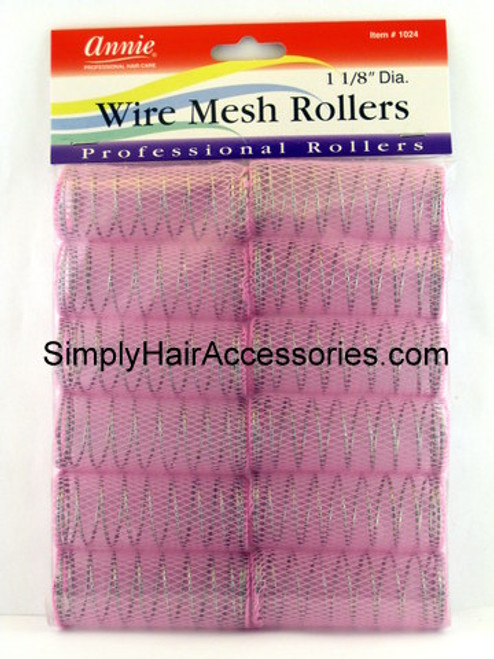 "Annie 1-1/8"" Wire Mesh Hair Rollers - 12 Pcs."