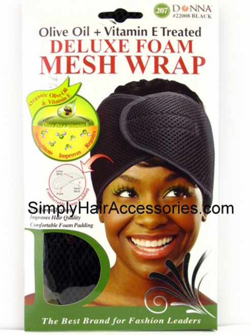 Donna Olive Oil & Vitamin E Treated Deluxe Foam Mesh Wrap - Black