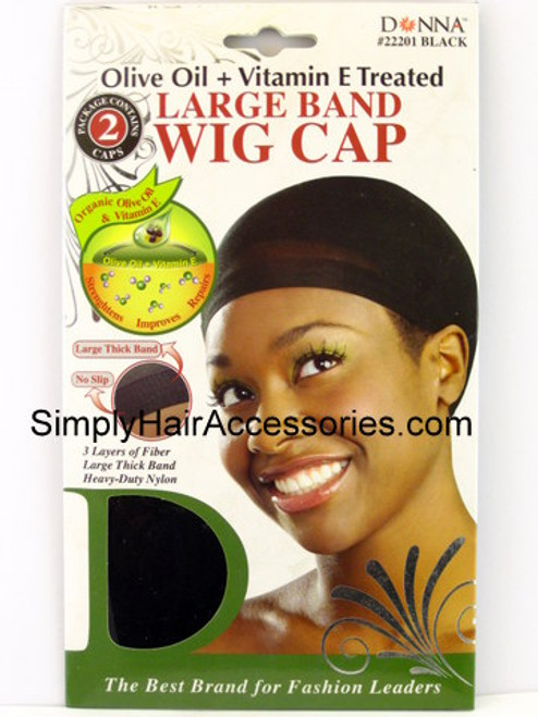 Donna Olive Oil & Vitamin E Treated Large Band Wig Cap - Black