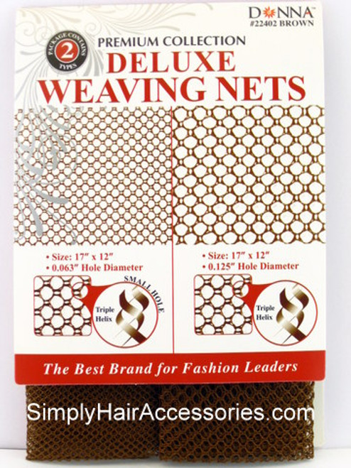 Donna Premium Collection Deluxe Large & Small Hole Weaving Nets - Brown - 2 Pcs.