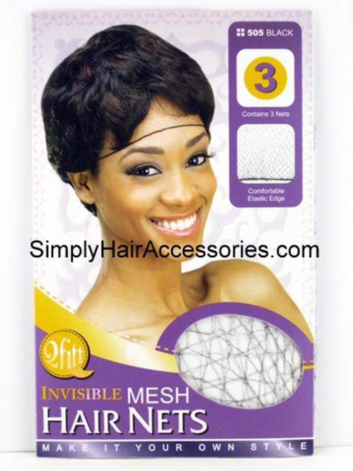 Qfitt Black Invisible Mesh Hair Nets - 3 Pcs.