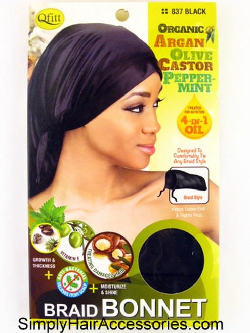 Qfitt Organic Argan Olive Castor Peppermint Oil Treated Braid Bonnet - Black