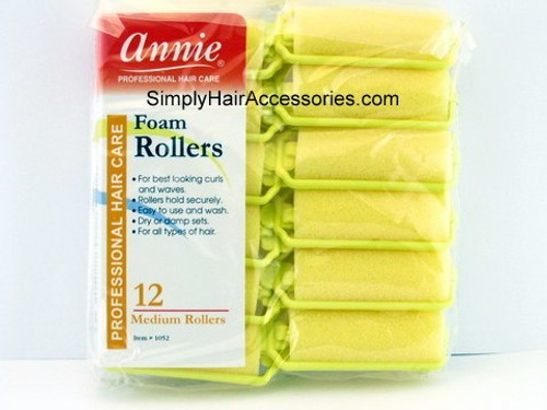 "Annie Medium 7/8"" Foam Hair Rollers - 12 Pcs."