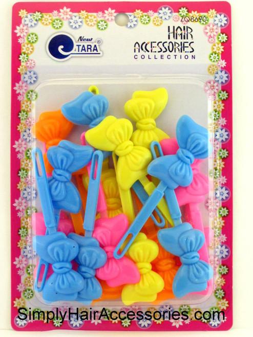 Tara Girls Self Hinge Bow Hair Barrettes - 20 Pcs.