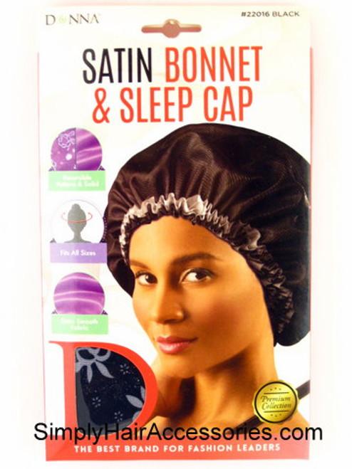 Donna Premium Collection Satin Bonnet & Sleep Cap - Black