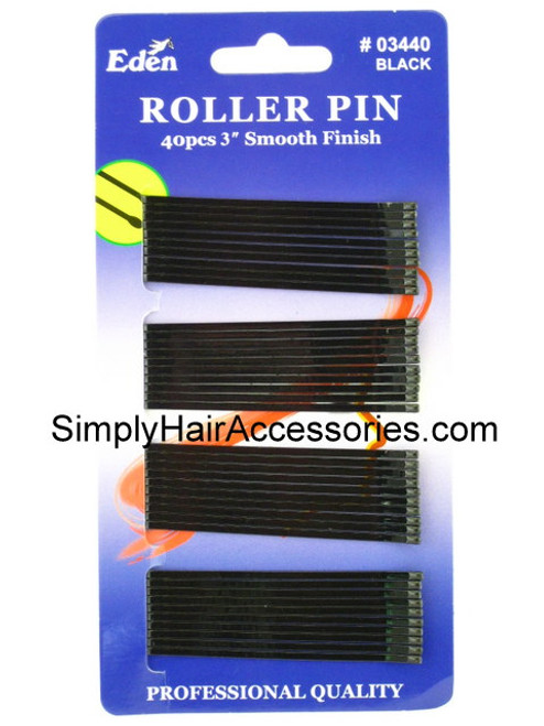"Eden 3"" Black Roller Pins - 40 Pcs."
