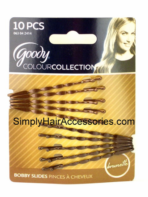 Goody Colour Collection  Brunette Wavy Bobby Slides - 10 Pcs.