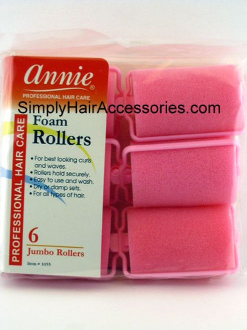 "Annie Medium 1-1/2"" Jumbo Foam Hair Rollers - 6 Pcs."