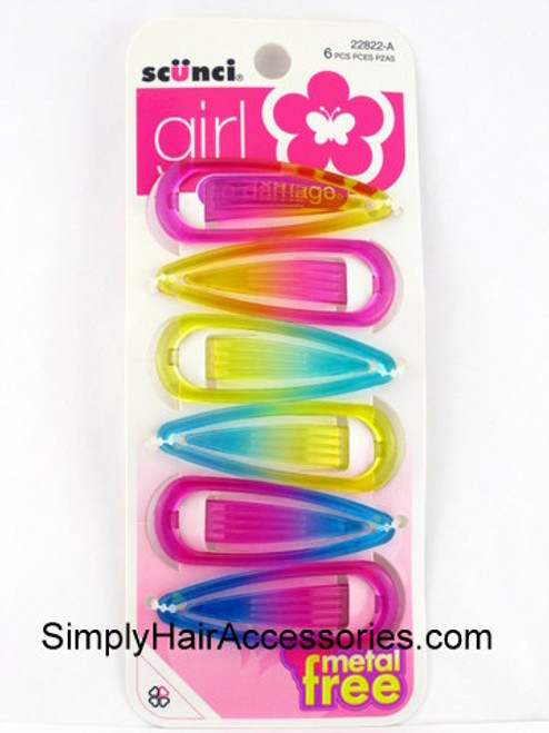 Scunci Girl Metal Free Snap Hair Clips - 6 Pcs.