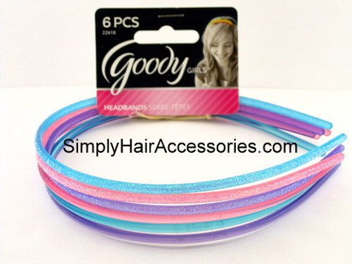 Goody Girls Glitter Filled Plastic Head Bands - 6 Pcs.