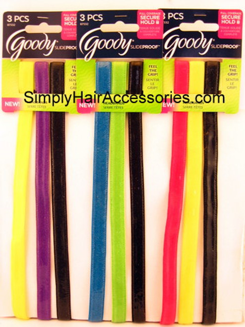 Goody Slideproof Skinny Silicone Head Bands - 3 Pcs.