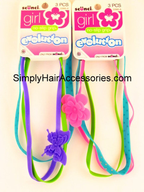Scunci Girl Evolution No Slip Grip Head Bands - 3 Pcs.
