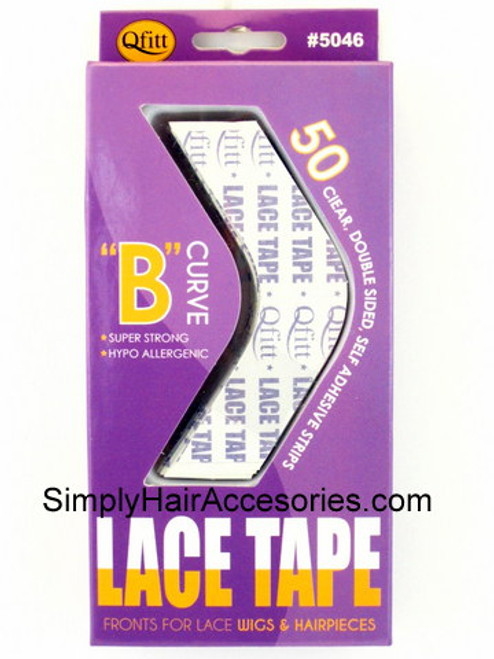 "Qfitt Double Sided Custom Cut ""B"" Curve Lace Tape For Wigs & Hairpieces - 50 Ct."