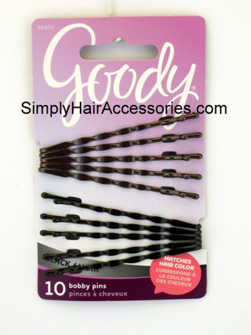 Goody Colour Collection Wavy Bobby Slides - Black - 10 Pcs.