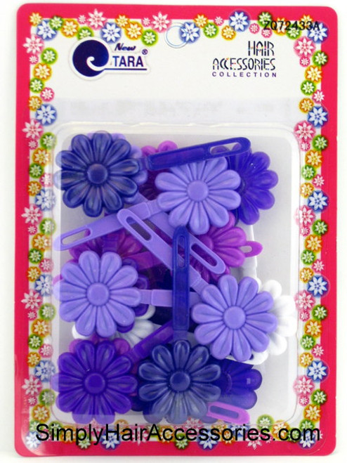 Tara Self Hinge Flower Hair Barrettes - Purple & White - 18 Pcs.