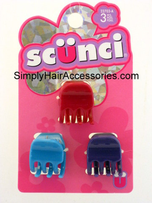 Scunci Girls Jaw Claw Hair Clips - 3 Pcs.