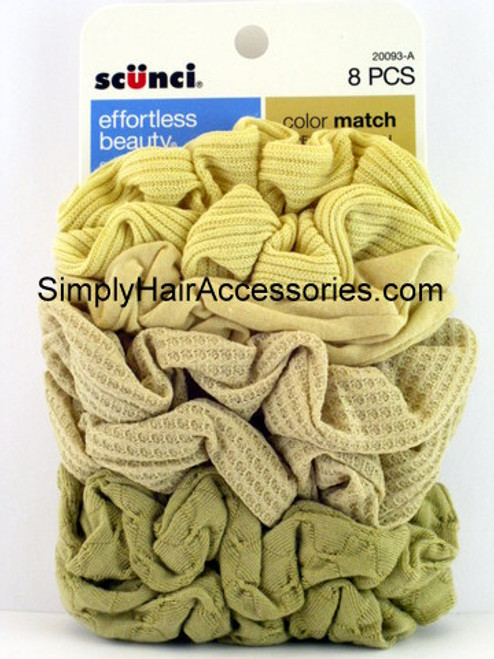 Scunci Color Match Blonde Mixed Knit Twister Scrunchies - 8 Pcs.