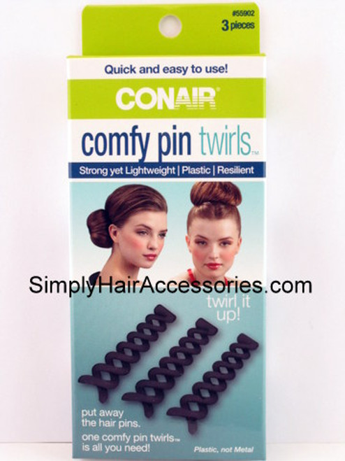 Conair Comfy Plastic Pin Twirls - 3 Pieces