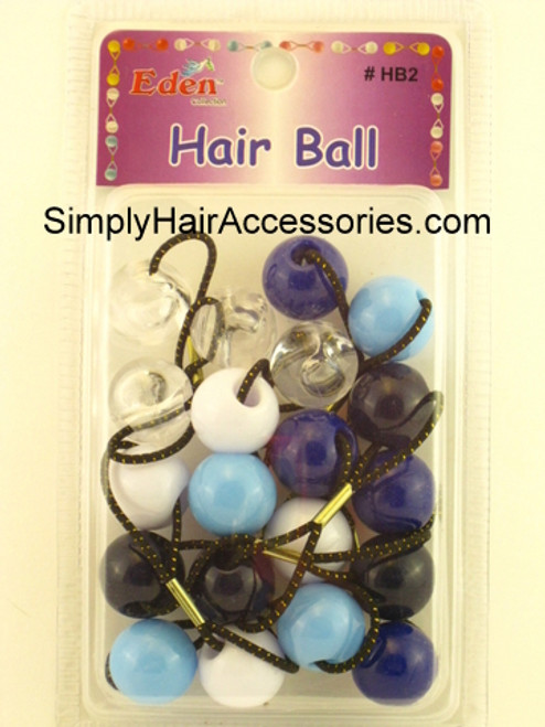 Eden Twinbead Ponytailers - Blue, White & Crystal