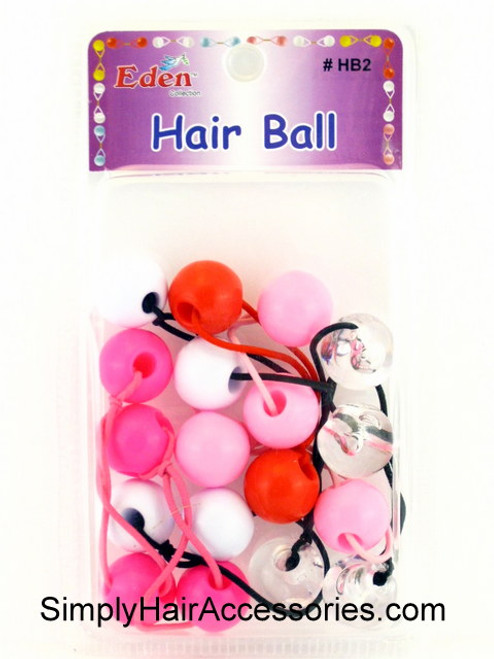 Eden Twinbead Ponytailers - Pink, Red, White & Crystal