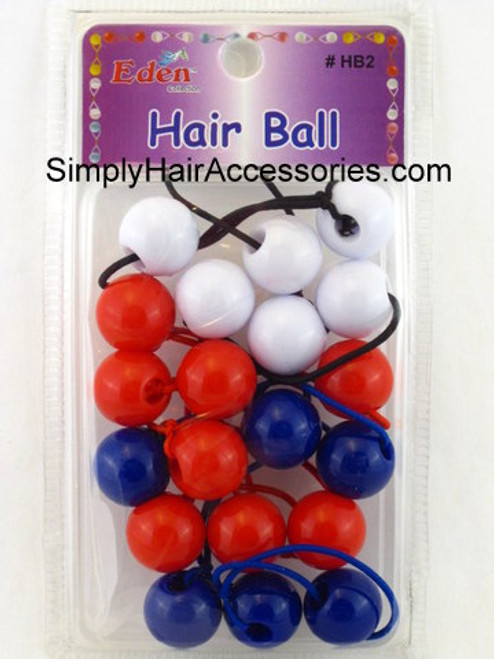 Eden Twinbead Ponytailers - Red, White & Blue