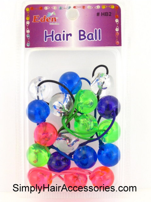 Eden Twinbead Transparent Ponytailers - Assorted Colors