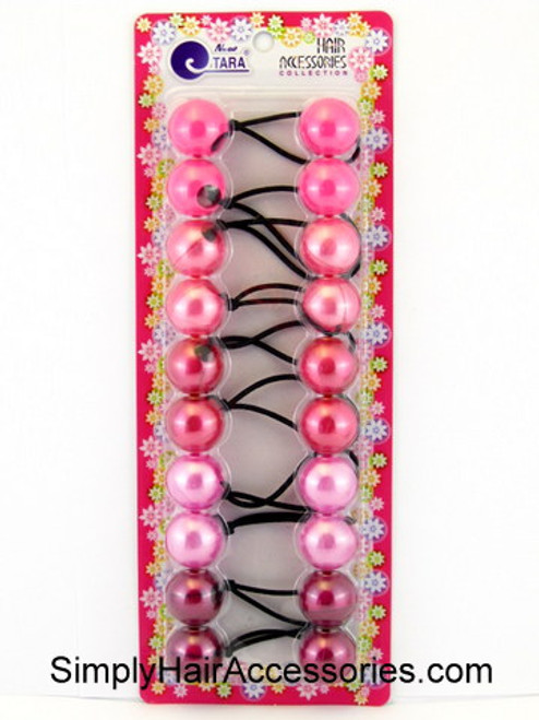 Tara Twinbead Solid Ponytail Holders - Pearl Pinks - 10 Pcs.