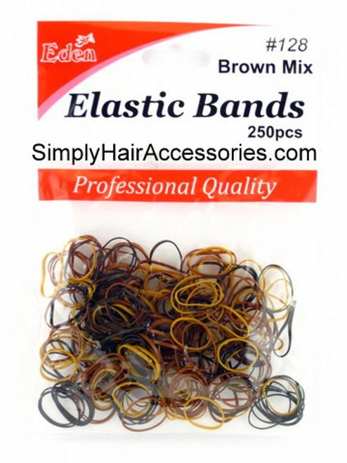 Eden Brown Polyband Hair Elastics -  250 Pcs.