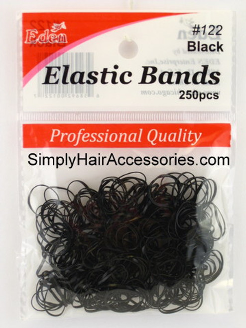 Eden Black Polyband Hair Elastics -  250 Pcs.
