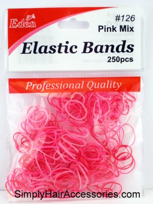 Eden Pink Polyband Hair Elastics -  250 Pcs.
