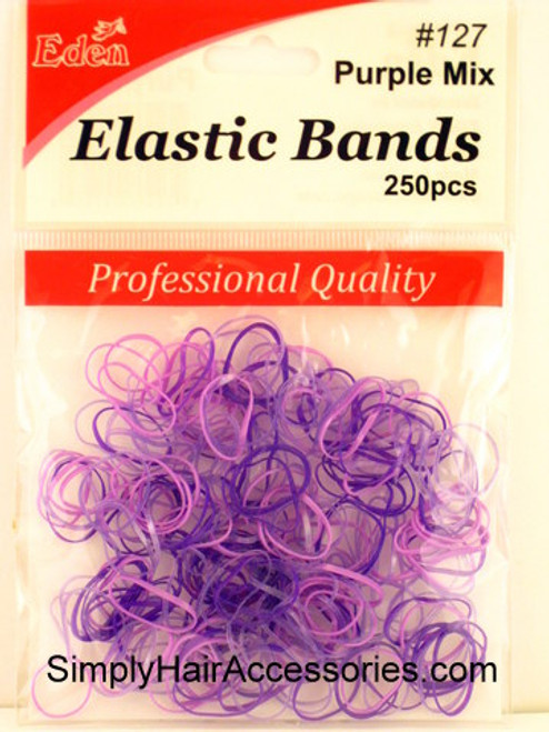 Eden Purple Polyband Hair Elastics -  250 Pcs.