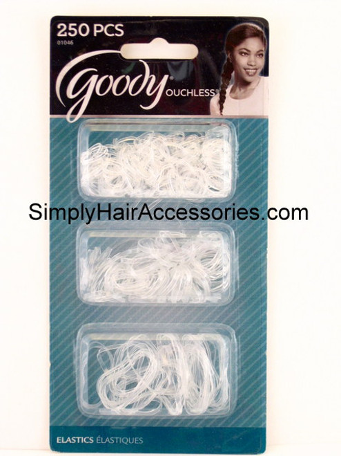 Goody Ouchless Multi Size Clear Polyband Hair Elastics - 250 Pcs.