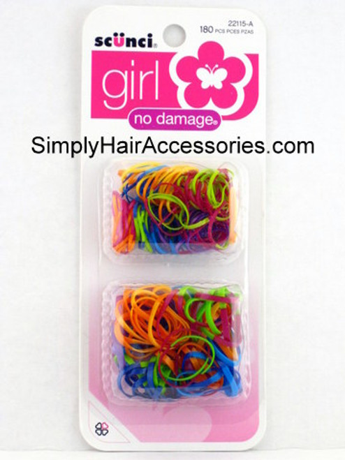 Scunci Girl No Damage Polyband Hair Elastics - 180 Pcs.
