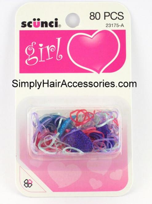 Scunci Girl Mixed Polyband Hair Elastics - 80 Pcs.