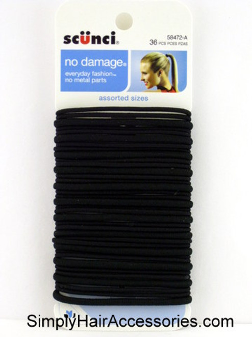 Scunci No Damage Assorted Size Black Ponytail Holders - 2MM/4MM - 36 Pcs.