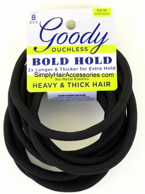 Goody Ouchless Bold Hold No Metal Heavy & Thick Elastics - 8 Pcs.