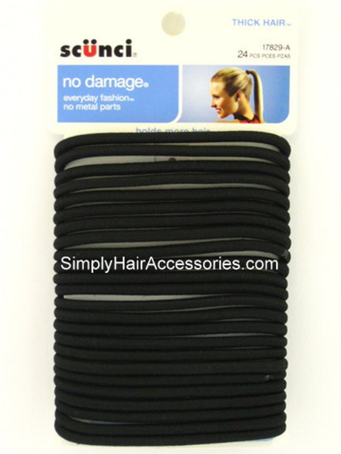 Scunci No Damage Thick Hair Black Ponytail Holders - 24 Pcs.