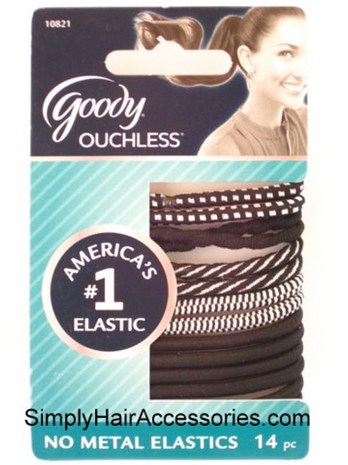 Goody Ouchless Black & White Hair Elastics - 14 Pcs.