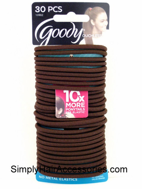 Goody Ouchless Brown 4mm Hair Elastics - 30 Pcs.
