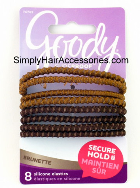 Goody Slideproof Brunette Silicone Hair Elastics - 8 Pcs.