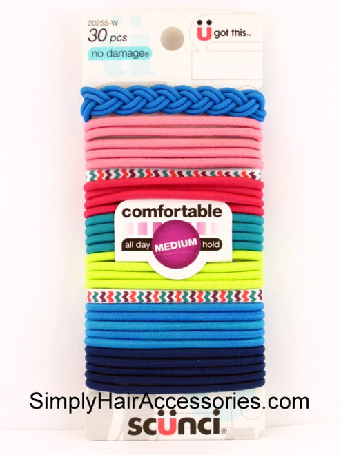 Scunci No Damage 4mm Ponytail Hair Elastics - 30 Pcs.